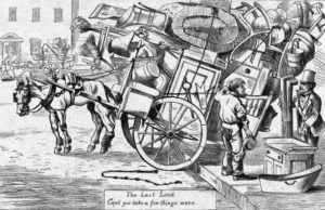 """""""Can't you take a few things more?"""" A cartoon from Harper's Weekly, 1869. Image: public domain."""